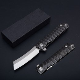 Wholesale Computer Points - Computer Gongs All Steel Non-Slip Pattern Handle Outdoor Survival Tactical Knives EDC Folder Tanto Point D2 Steel Knife 2 Styles D61Q