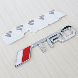 Wholesale Emblem Metal 3d - Wholesale New 3D Chrome TRD Racing Development Logo Metal Emblem Badge Cool Car Styling Decal for Toyota Car Tail Door Head Car Sticker