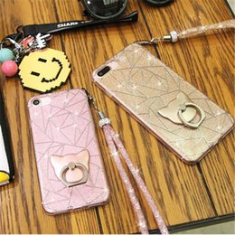Wholesale Tpu Shiny Gel Case - New 5 color Soft TPU Gel phone covers cellphone shells with ring glitter shiny TPU case cover for iPhone7 6 6s zpg249