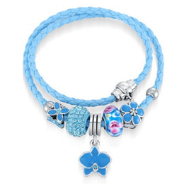 Wholesale Murano Gold Glass - New Arrival Leather Wrapped Bracelet Murano Glass European Beads Fit Pandora Charms Bracelet Bangle Bracelets For Women
