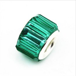 Wholesale Teal European Bead - 50PCS Lot Beautiful Teal Color Resin Rhinestone Charms Silver core European Big Hole Beads for Jewelry Making Low Price