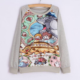 Wholesale Totoro Products - New products New 2015 Spring and autumn Hoodies Long sleeve hoodie Women thin style Loose plus-size Hoody totoro printed Women sweatshirt Ne