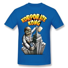 Wholesale Cotton Processing - Modern men's tshirts Advanced printing process male crazy style pure cotton tees shirt collar neck Korporate Kong