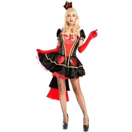 Wholesale Sexy Alice Wonderland Costumes - Queen of Hearts Fancy Dress New Halloween Carnival Alice In Wonderland Cosplay Costume Women Sexy Short Sleeve Ball Gown A158594