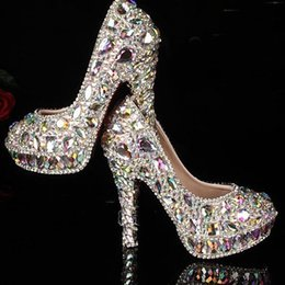 Wholesale Colorful Platforms - Factory manufacture colorful crystal rhinestones with platform high heels bridal wedding shoes AB crystal Diamond Shoes for Wedding Ceremony