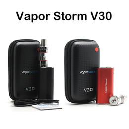 Wholesale Cigarette Case Metal Box - Authentic Vapor Storm V30 Mod Kits E Cigarette Starter Kits 30W Vape Mod EC Glass Tank Atomizer Box Zipper Case Kit