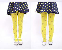 Wholesale Yellow Baby Pantyhose - Fashion Floral Print Infant Baby Girls Velvet Tights Toddler Kids Tights Pantyhose Autumn Winter Baby Girl Stockings Girl Pants