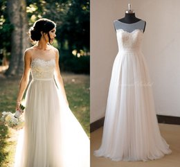 Wholesale Silver Maternity Wedding Gowns - 2016 Country Style Wedding Dresses Beach Summer Bohemian Sheer Bateau Neck A Line Lace Applique Tulle Pleats Romantic Formal Wedding Gowns
