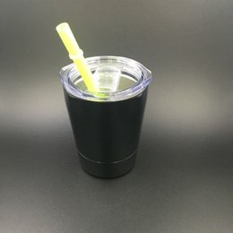 Wholesale Tumblers Drink - In stock! 9oz tumbler Stainless Steel Drinking Cups Double Wall Stainless Steel Wine cup Tumbler mugs with lid and straw