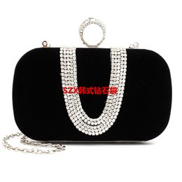 Wholesale Clutch Type Purse - 2016 New Diamond Finger Ring clutch women bags evening bags U-type diamond velour small purse holder bags packet