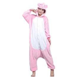 Wholesale Men Cotton Sleepwear - Lovers Pig Unisex Adults Flannel Hooded Onesies Pajamas Cosplay Cartoon Animal Sleepwear For Women Men