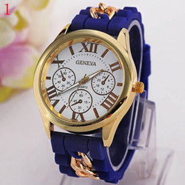 Wholesale Geneva Metal Watch - Free shipping The new Geneva silicone Roman typeface False eye chain watches on sale at wholesale Metal strap decoration