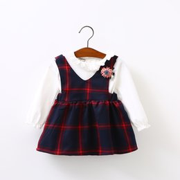Wholesale Korean Ball Gowns - Everweekend Kids Baby Girls Western Fashion Plaid New Dress Baby Cute Sweet Cotton Korean Lovely Dress Clothing