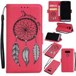 Wholesale Blue Dreamcatcher - Dreamcatcher Case For iPhone X 8 7 6 Plus 5 with Wallet Card Slot Leather Case For LG G5 G6 K8 K10 2017