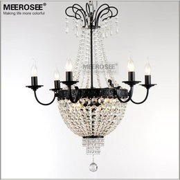 Wholesale Black Iron Crystal Chandelier - Crystal Chandelier Light Fitting French Vintage Crystal Lighting fixture Wrought Iron White Chrome Black color for Dining room
