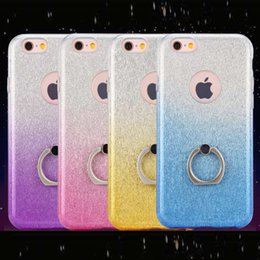Wholesale Iphone5 For Cheap - Cheap Price 360 Swivel Ring Phone Cover Gradient Shine Paillette Back Cover TPU Soft Cell Phone Cases with Holder For Iphone5 6 6Plus