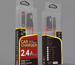 Wholesale Cigarette Lighter Cables - Car Charger 2 in 1 charging cable 2.4A Auto USB Cigarette Adapter Lighter Charger for iphone samsung samrtphones with retail box