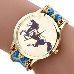 Wholesale Horse Watches Digital - Fashion New Design Horse Braided Rope Leather Watch Wrap Around Gold Case Dress Watch Hot Seller Quartz Wristwatch