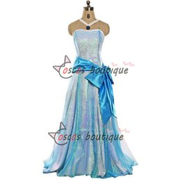 Wholesale Tiana Dress - The Princess and the Frog Princess Tiana Dress Tiana Cosplay Women Halloween Costume light blue dress Custom Made
