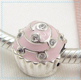 Wholesale Hearts Cupcakes - 2016 Mother's Day 925 Sterling Silver Sweet Cupcake Charm Bead with Pink Enamel Fits European Pandora Style Jewelry Bracelets & Necklace
