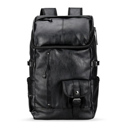 Wholesale Fashionable Backpacks - wholesale brand mens bags fashionable large capacity leather backpack British retro leisure men backpack outdoor travel leather backpack