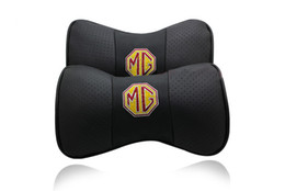 Wholesale Gt Seat Covers - 2 X Genuine Leather Car Headrest Pillow Neck Rest Pillow Seat Cushion Covers for MG GS MG GT MG6 MG5 MG3SW MG3 Free shipping