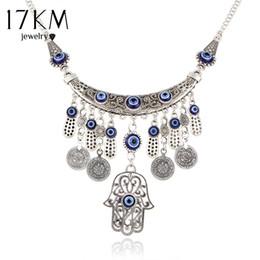 Wholesale tibetan steel necklace - Wholesale- 17KM Vintage Silver Color Statement Necklaces For Women 2017 Fatima Eye Hand Tibetan Pendants Ethnic Jewelry Maxi Accessories