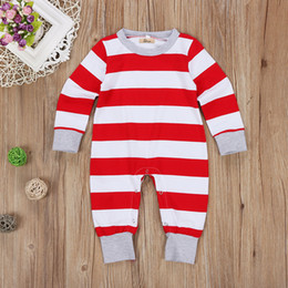 Wholesale Baby Red Overalls - Baby Christmas Unisex Pajamas Infant Romper Suit Long Sleeve Cotton Onesies Xmas Jumpsuit Jumper Kid Boutique Clothes Legging Warmer Overall