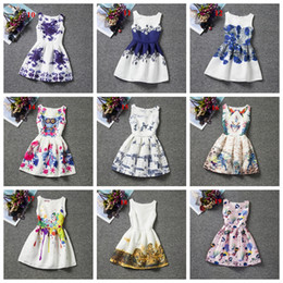 Wholesale Skirt Retro Style - 20 styles latest design baby girls floral dress Retro printing princess dress for girl children sleeveless skirts kids prom party clothing