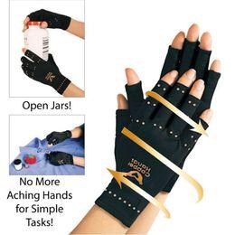 Wholesale Finger Pain - Arthritis Compression Gloves Copper Hands Gloves Women Men Health Care Half Finger Ache Pain Rheumatoid Therapy Sports Gloves OOA2491