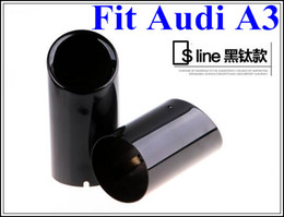 Wholesale Audi Pipe - Free shipping!High quality stainless steel 2pcs lot exhaust muffler tube,exhaust pipe,deafener with logo Sline for Audi A3 2010-2016