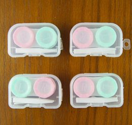 Wholesale Blue Contacts Lenses - Contact Lens Case Double Box Blue Pink Left and Right Lid Eyewear Accessories Travel Kit DHL