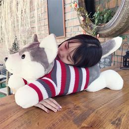 stoffkissen Rabatt Hot 70 cm Cartoon grau Pullover husky Hund Plüschtier Kind Tuch Puppe große Kissen Kissen Kind Weihnachten Geburtstagsgeschenk IB608