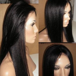 Wholesale Long Black Lace Wig Yaki - 7A Italian Yaki Glueless Full Lace Human Hair Wigs For Black Women Brazilian Hair Italian Yaki Lace Front Human Hair Wigs
