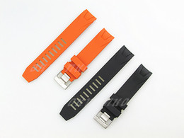 Wholesale Watch Diver Orange - 20mm NEW Black And Orange Diver Rubber Curved end Watch Band Strap For Omega Watch