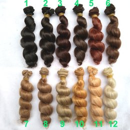 Wholesale Bjd Wig Brown - Wholesale-1pcs 15*100cm brown flaxen coffee black brown natural color high temperature curly doll wig hair for 1 3 1 4 1 6 BJD diy