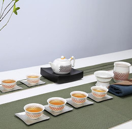 Wholesale Cup Pot Chinese Tea Set - Paul Ceramic Chinese Exquisite Hollow Design Kung Fu Tea Set Floral Teapot Elegant Tea Pot witn 6 Cups,10 Pcs Kung Fu Tea Set