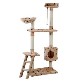 "Wholesale Furniture Pets - 60"" Cat Tree Tower Condo Scratcher Furniture Kitten Pet House Hammock Beige Paw"