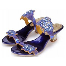 Wholesale Thick Rome Shoes - big size 34-44 women summer thick high heels sandals gladiator rhinestone flowers rome woman shoes ladies luxury fashion comfortable slipper