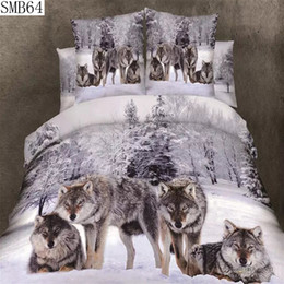 Wholesale Red Bedding Sheets - Wholesale- The queen size 3d series tiger lion wolf design style 100% cotton bedding set 4pcs include pillowcase duvet cover bed sheet