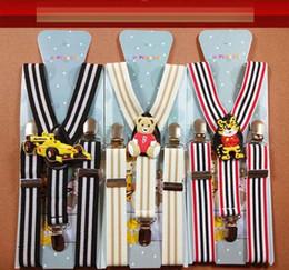 Wholesale Elastic Folder - Cute cartoon Children Baby 3 Clip stripes elastic Shoulder Belt Kids All-match Adjustable Suspender Brace kids Trousers Folder Sling V046