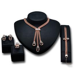 Wholesale Cheap Diamond Bracelets For Women - Fashion Alloy Cheap Latest Fake Diamonds Bracelet Tassels Necklace Earrings And Ring set Elegant Gifts For Women Crystal Jewelry Set