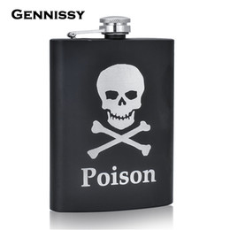 Wholesale Stainless Steel Skull Flask - Wholesale-GENNISSY Personalized Alcohol Flasks 8oz Fashion Skull Design Stainless Steel Mini Hip Flask Camp Outdoor Portable Whiskey Flask