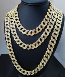 Wholesale Gold Chains Bling - Iced Out Bling Rhinestone Crystal Goldgen Finish Miami Cuban Link Chain Men's Hip hop Necklace Jewelry 20, 24, 30 ,36 Inch