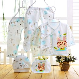 Wholesale Leopard Print Newborn Baby Clothes - 5pcs set Cartoon Printed Baby Clothing Sets Newborn Baby 100% Cotton Shirt Pants Suits Infant Clothes Outfits 0-2M