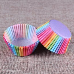 Argentina Rainbow Color Cupcake Liner Hornear Copa Cupcake Papel Muffin Casos Caja de Torta Pastel Molde Bandeja Suministro