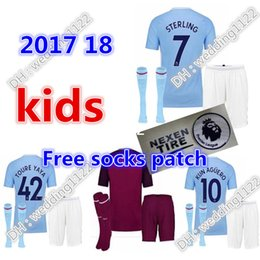 Wholesale Man City Away - Wholesale prices 17 18 kids soccer Jerseys 2017 2018 Man City kids DZEKO KUN AGUERO KOMPANY TOURE YAYA DE BRUYNE Home away football Shirt