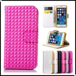 Wholesale Iphone5 Diamond Case - Luxury Leather Wallet Phone Case With Diamond Lattice Pattern Card Slots Filp Holder Folio Cover For Iphone5 6 6plus Samsung S5 S6Edge Note5