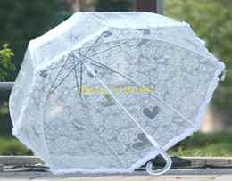 Wholesale Transparent White Umbrella - 50pcs lot Free Shipping Transparent White Lace Umbrella Parasol Long-handled Cute Princess Fishing Women Umbrella Rain