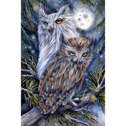 Wholesale Pink Owl Wall - Edenville Owls DIY Gifts Diamond Painting 5D Diamond Mosaic Rhinestone Cross Stitch Embroidery Home Wall Decor Handmade(Free Shipping)
